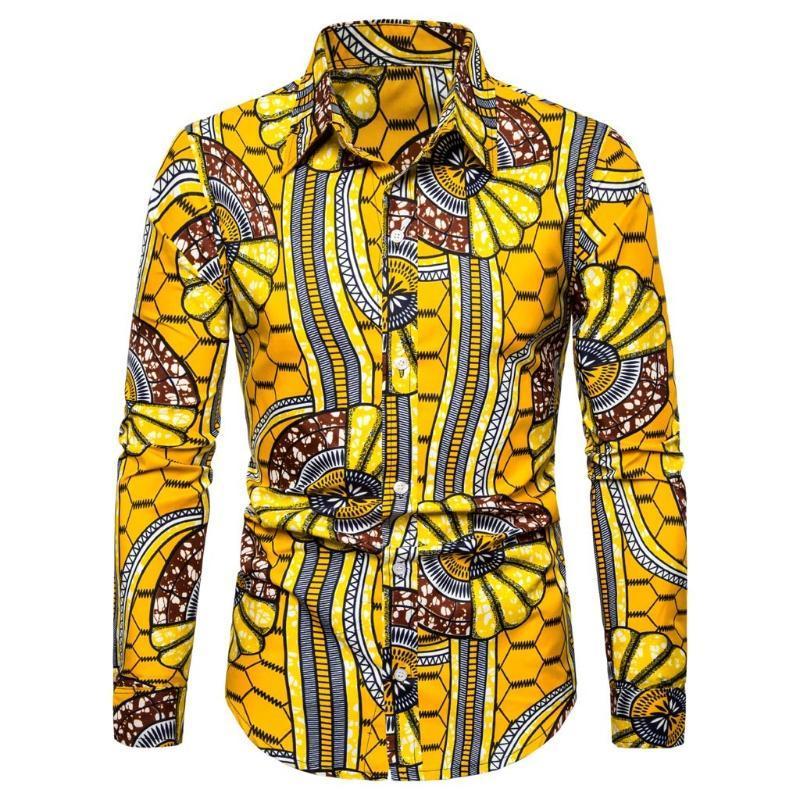Camisa masculina homens Casual Impressão 3D Vintage Slim manga comprida vestido camisa blusa amarelo tops 19july18 p30