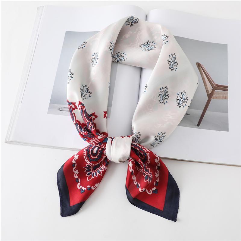 2020 seidenschal dame haarband drucken mode weibliche foulard square tasche schals frauen bandana necke tuch große hijab zubehör