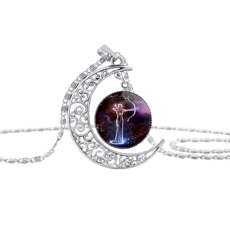 12 Constellation Zodiac Amulet Widder Krebskörper Pisces Taurus Aquarius Jungfrau Leo Gemini Waage Skorpion Sagittarius Die Mond Halskette DHL frei