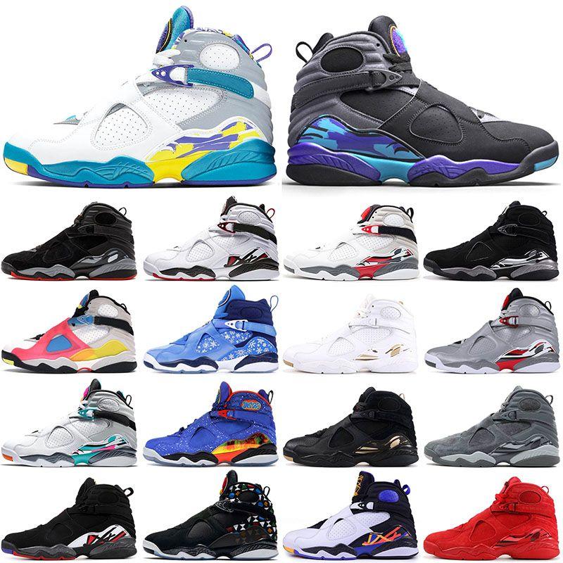 nike air jordan retro 8 8s Blanc Aqua 2021 Nouvelle Arrivée Chaussures de basketball 8 8s Saint Valentin Journée Sud Beach Chrome Jumpman Bred de sport rétro
