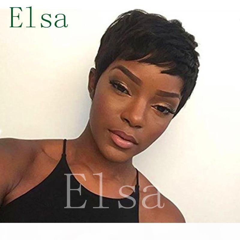 Top Pixie Cut curto para os afro-americanos Melhor cabelo brasileiro perucas perucas de cabelo cabelo rendas frente humano virgem glueless grau brasileira