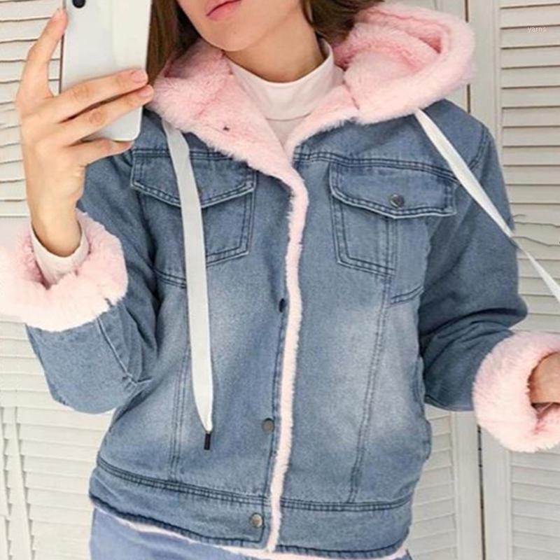 Frauen Jacken Frauen Denim Jacke mit Pelz Winter Jeans Warme mit Kapuze Velvet Femme Faux Kragen Gepolsterte Bomber Windbreake21
