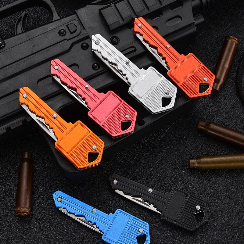 Key Shape Mini Folding Knife Fruit Knife Multifunctional Key Chain Knife Outdoor Saber Swiss Self-Defense Knives EDC Tool Gear LLS706