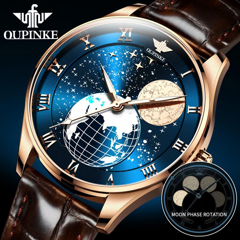 OUPINKE Men's Mechanical Moon Phase Wirstwatches Waterproof Top Brand Luxury Automatic Mens watches Sapphire Relogio Masculino Q1129