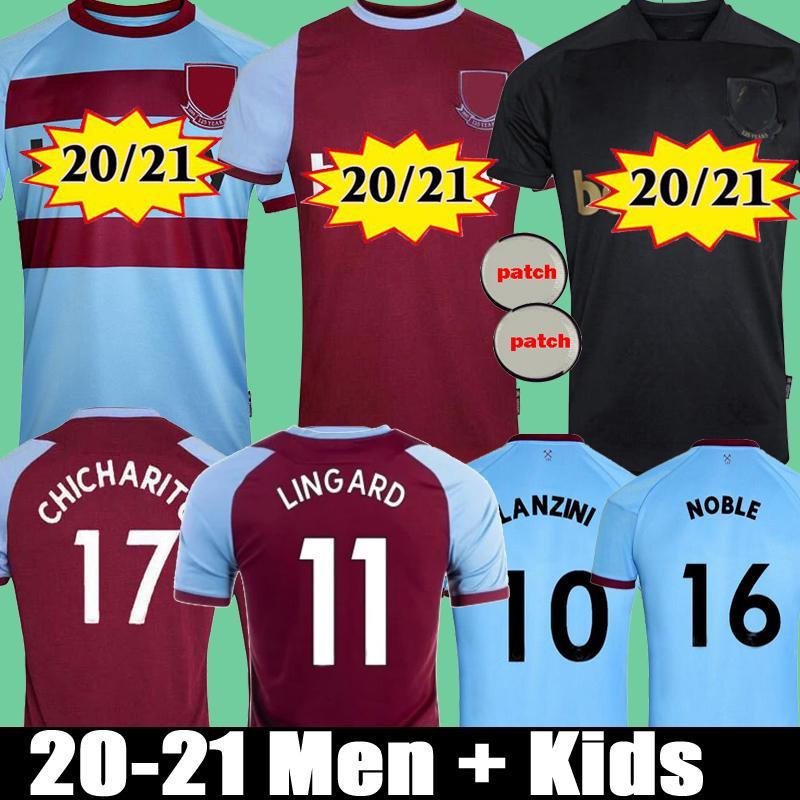 West Ham United  Lingard Männer + Kinder 20 21 United Fussball Trikots Home Drittens Black Lanzini Chicharito Noble Antonio 2020 2021 Fußballhemden