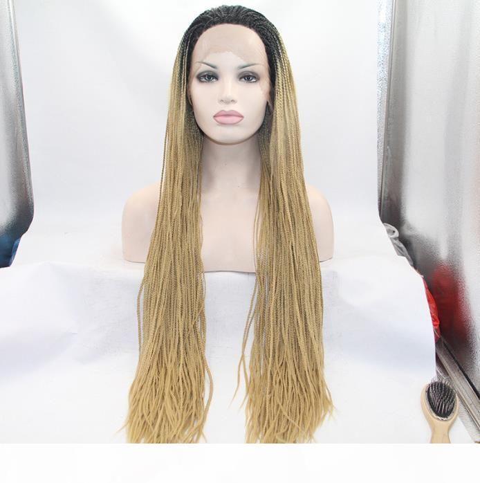 Densità 150% resistente al calore micro parrucche intrecciate parrucche per capelli afroamericani intrecciati stili lunghi bionda parrucca scatola di pizzo trecce parrucca sintetica FZP81