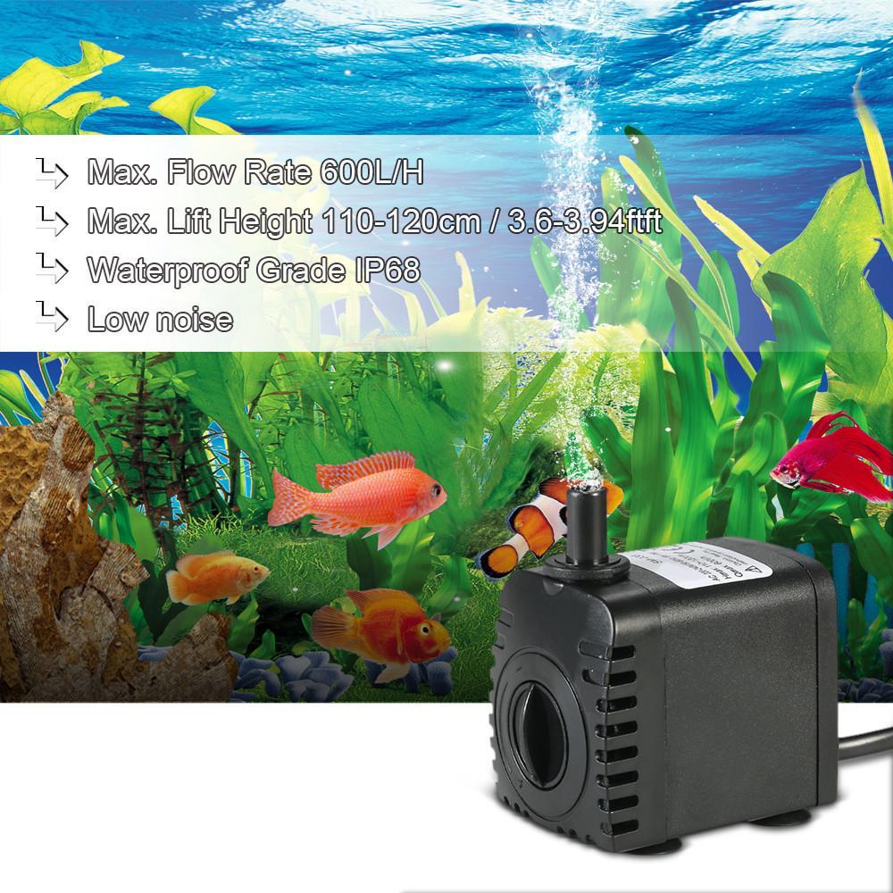 Pompe à eau submersible de 600L / H 8W pour les fontaines de table d'aquarium de la table d'eau et les systèmes hydroponiques avec 2 buses Y200917
