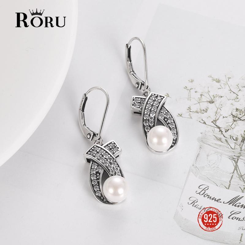 100% 925 Plata esterlina Pendientes de joyería Vintage Mujeres colgando con perlas Piedras negras Zircon Boho Pendientes Regalo de fiesta Z1128