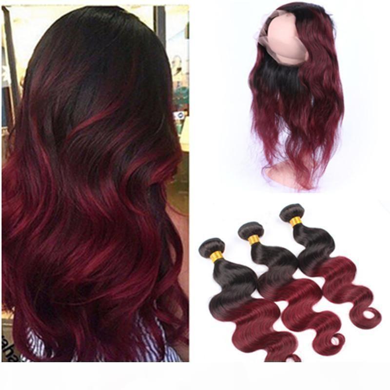 1b 99j Borgoña Ombre Malasia Virgin Human Hair 3bundles con vino preescalado Red Ombre 360 oreja a oreja Cierre frontal de encaje completo