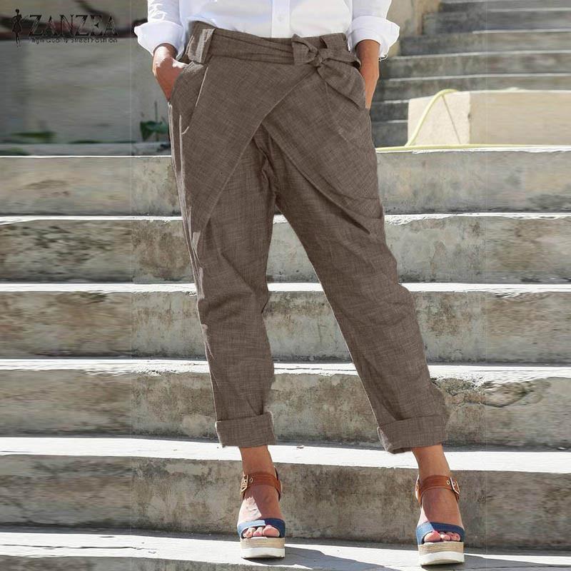 ZANZEA Kadınlar Rahat Kalem Pantolon Moda Lace Up Harem Pantolon Katı Elastik Bel Gevşek Pantolon Femme Şalgam Pantalon Artı Boyutu