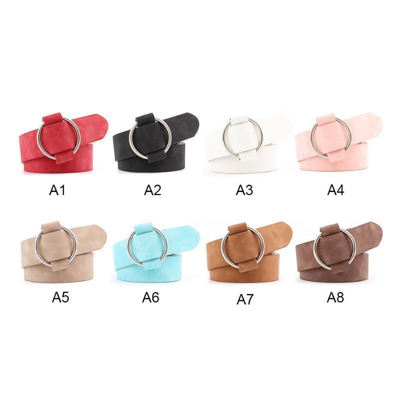 Cinturón de cintura para mujer Cinturones de hebilla redonda sin punta Cinturón de correa de ocio para jeans