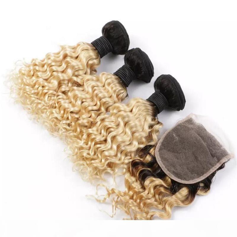 Peruano 1b 613 Onda profunda Paquete de cabello humano Rubio Ombre de color tejido con 4 * 4 Cierre de encaje