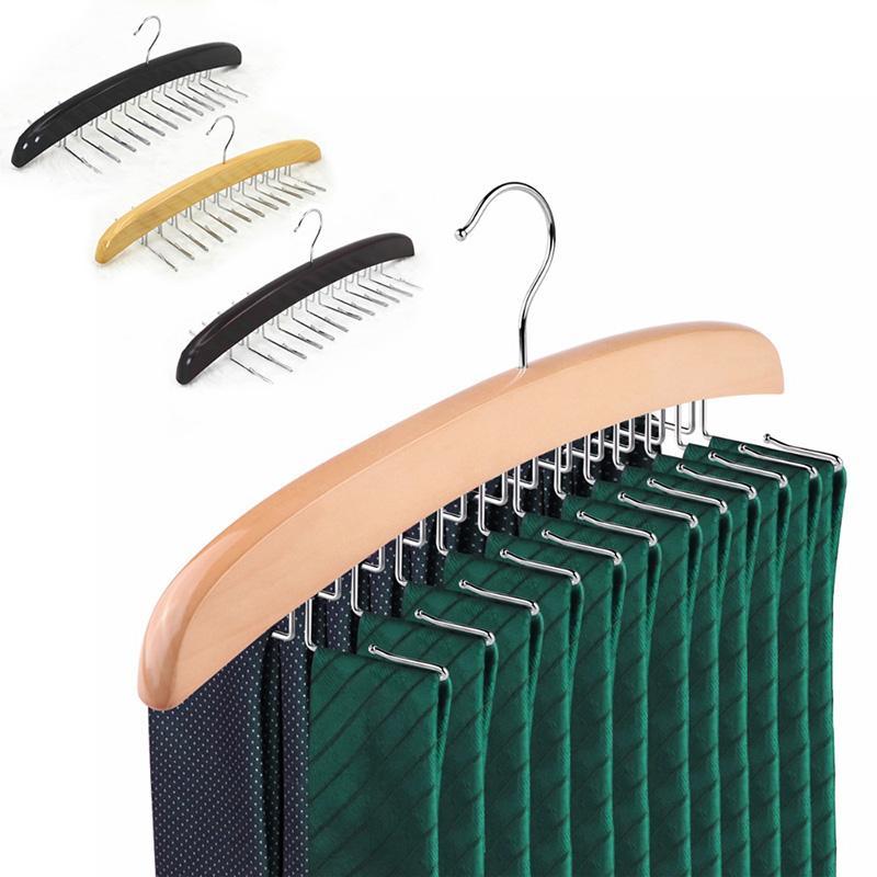 Roupa de madeira gravata cabide cabide para homens closet gravata cachecol cinturão espaçador de espaçador cabide organizador organizador armadilha gancho de metal