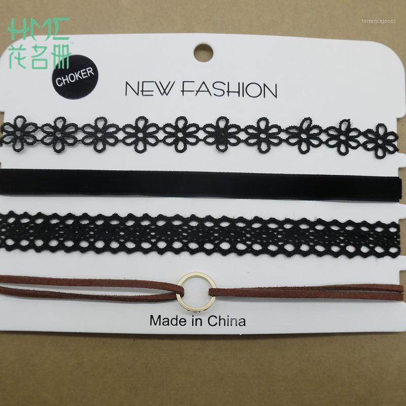 Chaînes Mode Personality 1Set / Sac Collier en dentelle Combinaison de la chaîne de corde de quatre cartes pour la dame par designers bijoux style 11