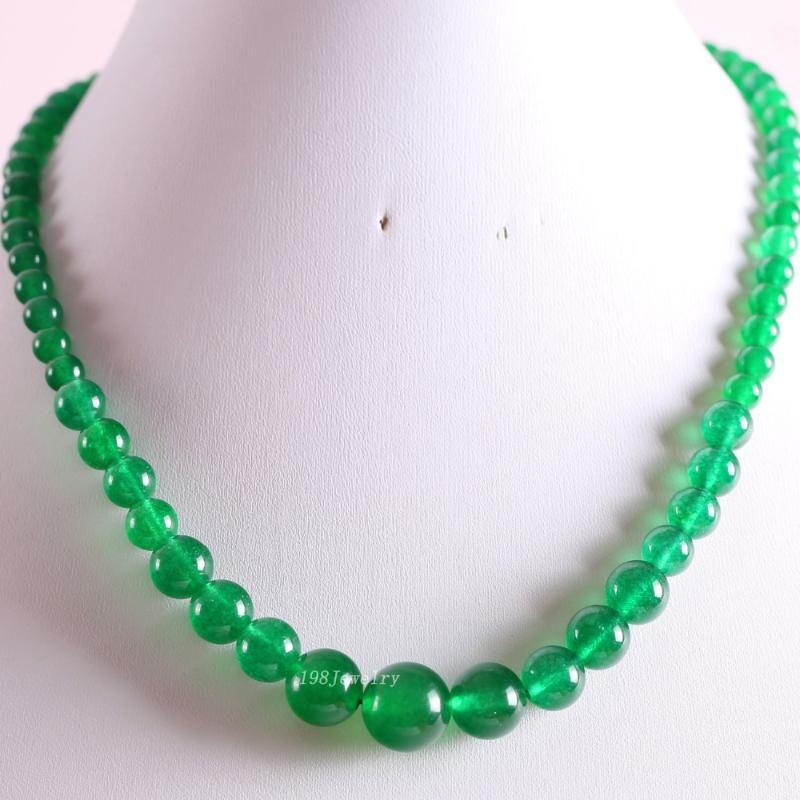 "Nuevo sin etiquetas Piedras naturales Beads redondas Verde Jad Necklace 18 ""1pcs re012"
