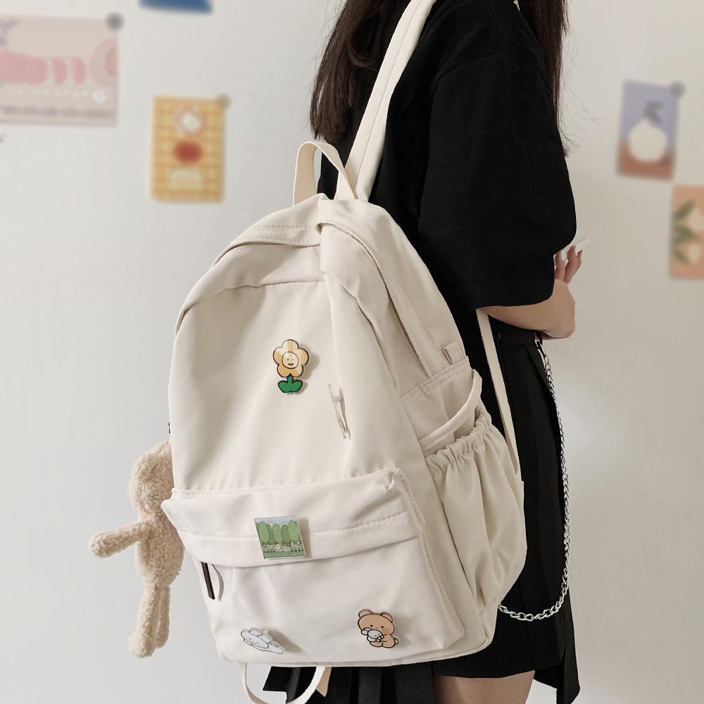 Women Nylon Cute Bear Female Student College School Bag Badge Girl Doll Backpack Kawaii Book Ladies Fashion Bags Trendy Q1113