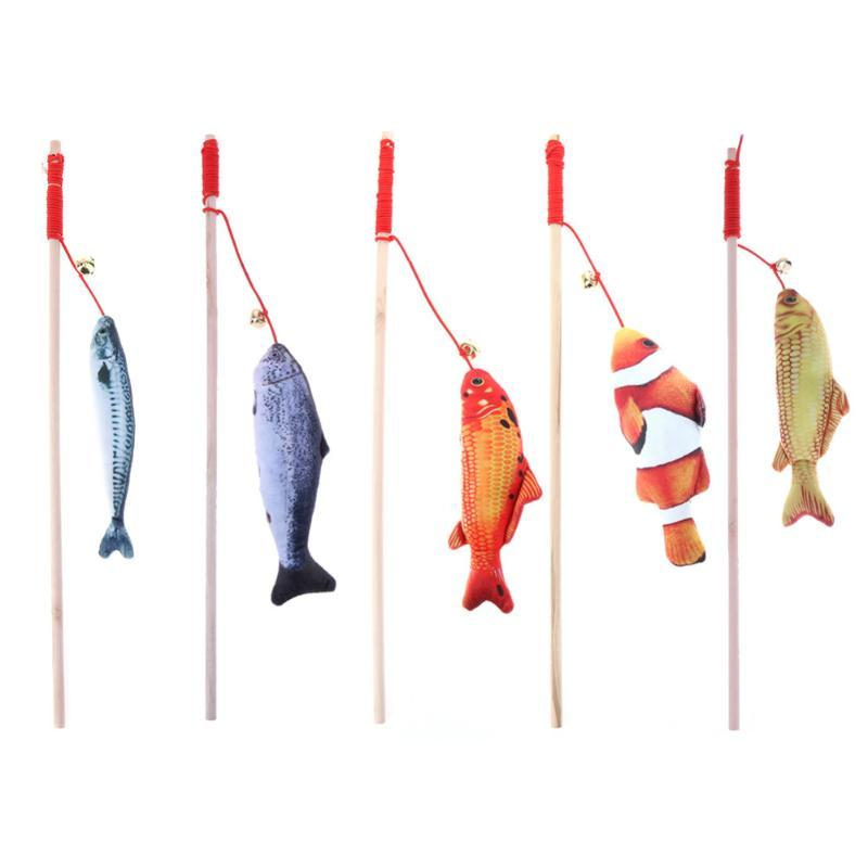 Cat Toys Wood Tease Rod Sticks Plush Stuffed Fish Pet With Catnip Bell Teaser Interactive Training For Products
