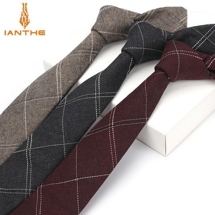 Ianthe 6cm Hommes Costume Cravate Classic Hommes Plaid Cravie Entreprise Formelle Bowknots Cravates Homme Coton Skinny Slim Cravavat1