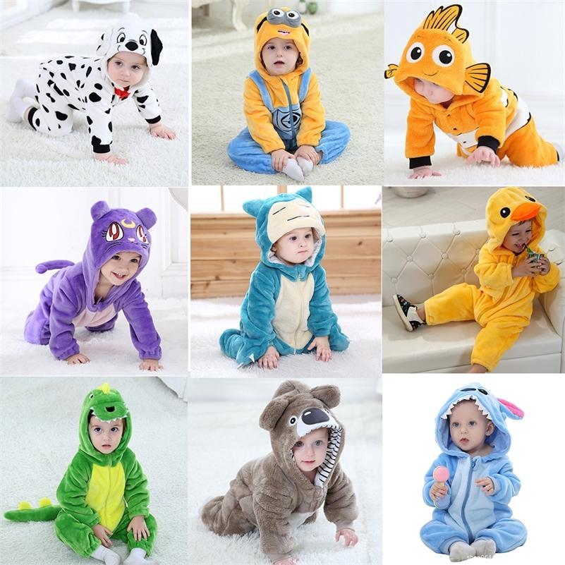 Kind Baby Strampler Kleidung 0-3y Kleinkind Jungen Mädchen Cartoon Striche Reißverschluss Flanell Warme Neugeborene Baby Kawaii Kleidung 201216