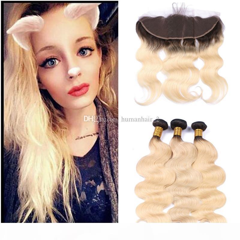 Vague corporelle 1B 613 cheveux blonds avec fermeture frontale deux tons ombre bundles de cheveux blonde avec oreille à oreille frontale 4pcs lot