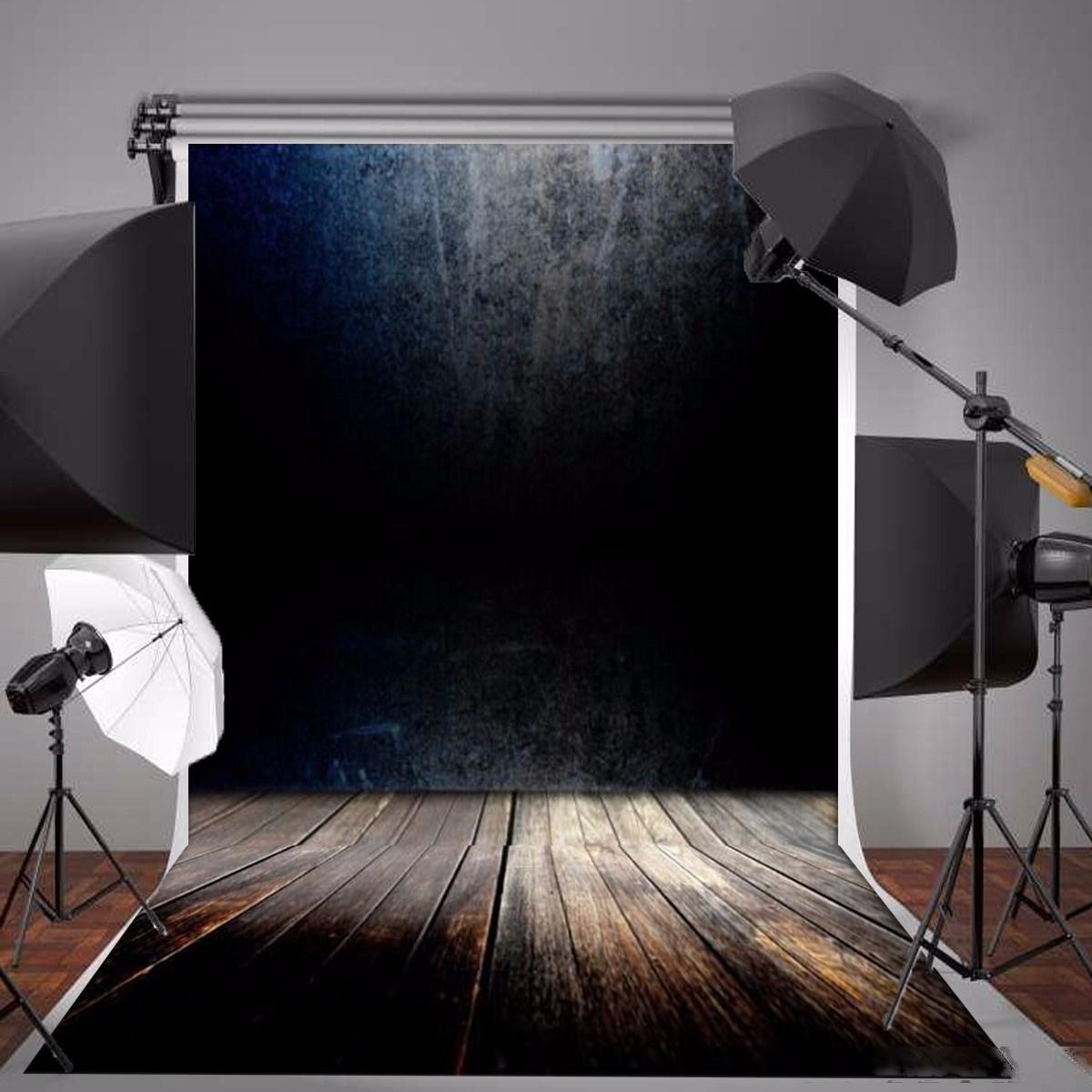 Background 5X7ft Fotografia vinil preto Gradiente Cinzento Madeira Vintage parede Piso Fotografia Backdrops para Photo Studio Props