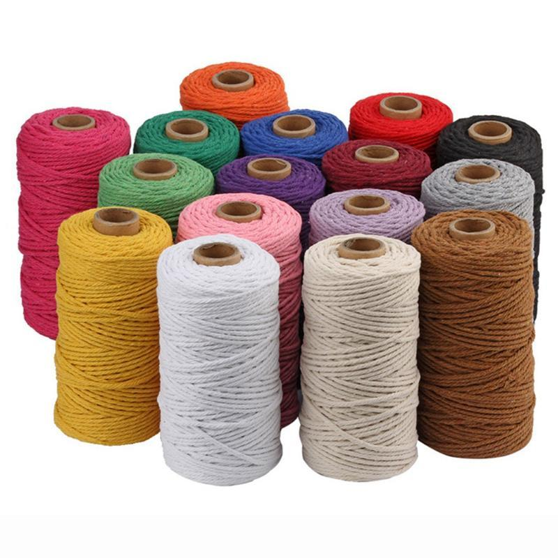 110Yards 3mm 100% Cotton Cord Colorful Cord Rope Beige Twisted Craft Macrame String DIY Home Textile Wedding Decorative Supply
