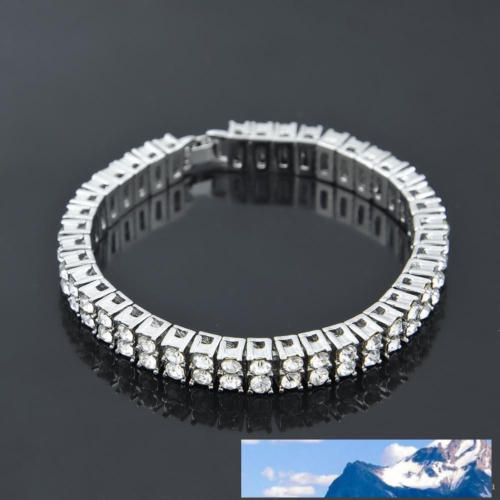 Silbergold-Hüfte Euro ausgetragener Hop 2-Reihe Strasssteine Kette klar simuliertes Diamant-Armband Männer Frauen