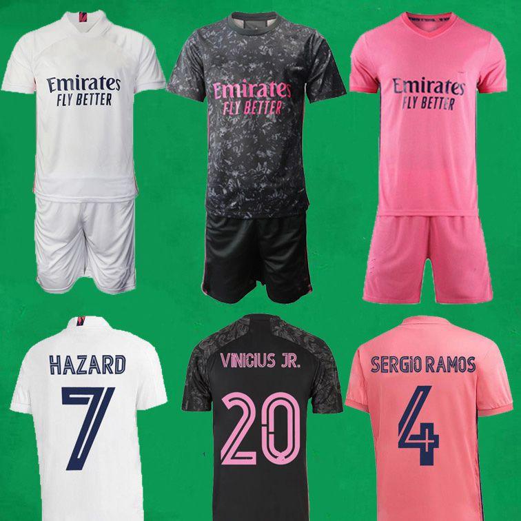 20 21 Jerseys de football de Madrid Real Madrid 2020 2021 Hazard Benzema Zidane Zidane Ramos Chemise de football Men Kids Football Jersey Kits Camisa de Futebol