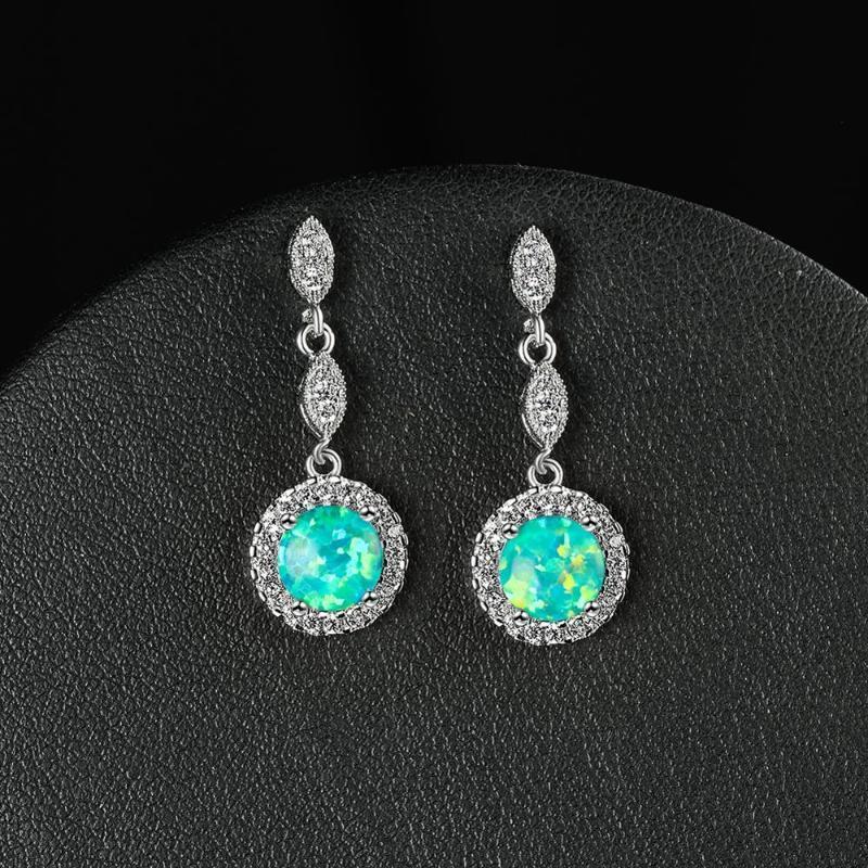 Белый синий зеленый опал круглая каменные серьги для женщин свадебные украшения винтажные моды розовое золото / серебро цветные серьги