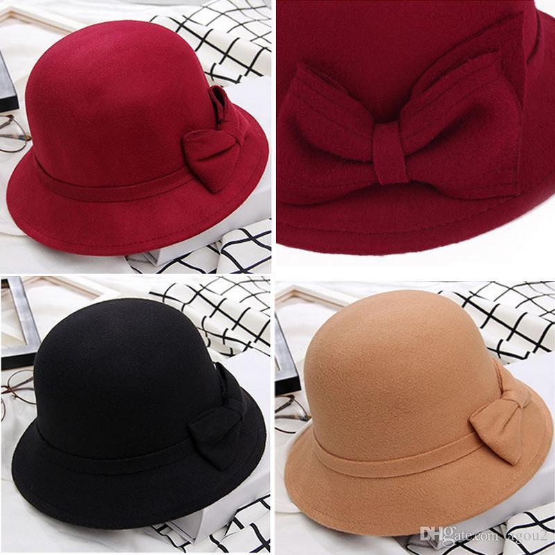 2020 лучшие осени женские шляпы сплошной шерсти войлочкой купол Федорасские шапки винтажные лук ведро шляпа дам