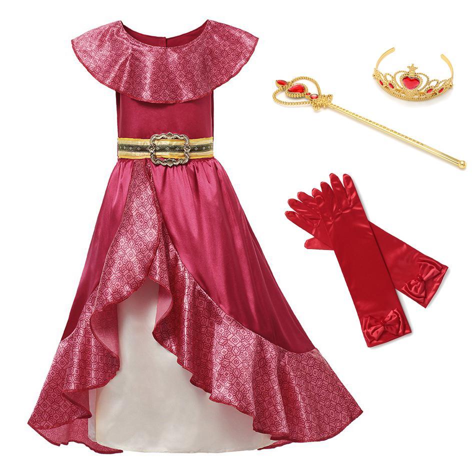 Niña princesa roja elena niños vestido cosplay disfraz sin mangas deluxe rojo niños fiesta halloween fantasy elena vestido F1130