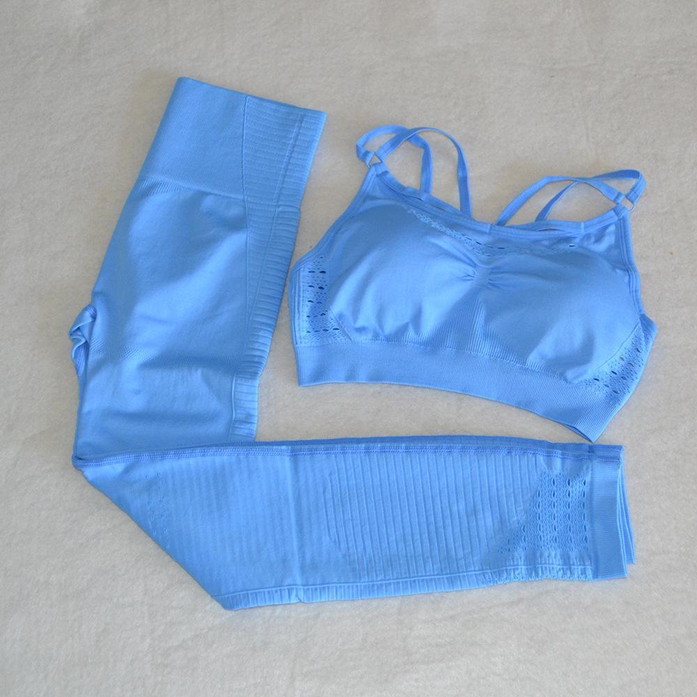 TrackSuits Seamless yoga set palestra 2 pezzi set due vestiti di allenamento per le donne abbigliamento fitness abbigliamento sportivo reggiseno sportivo reggiseno e leggings indossare abiti da sportivi da interno MUJER
