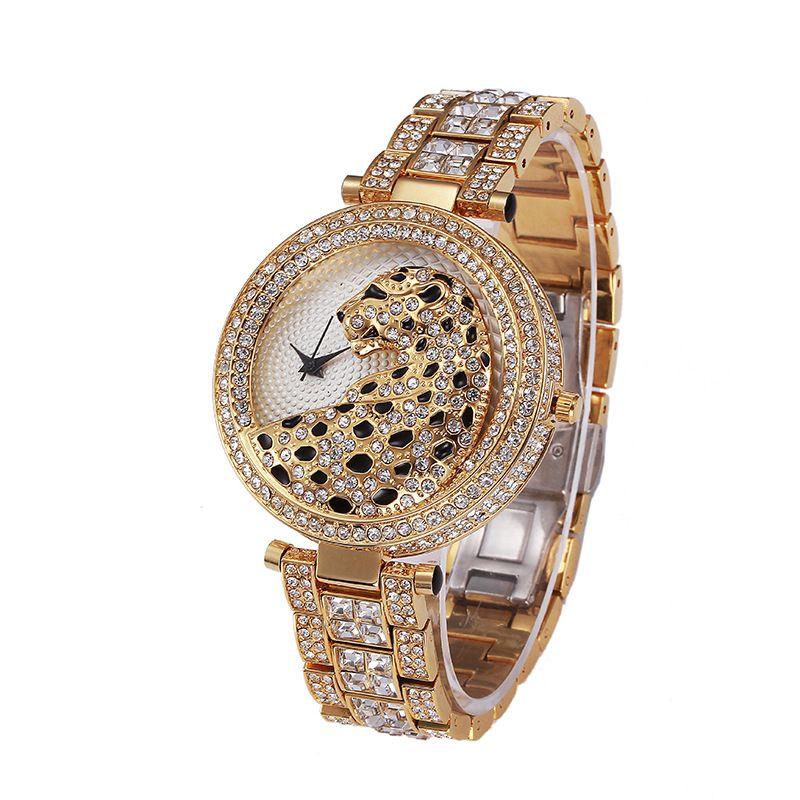 2021 Nouvelle annonce Montre à la mode Unisexe King Cheetah Diamond Steel Ceinture Personnalité Fashion Montre Montre à quartz imperméable haut de gamme