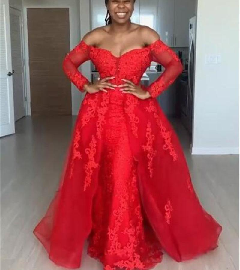 Red Overskirt Evening Dresses Off The Shoulder Lace Appliques African Prom Dress With Train Plus Size Party robes de soiree P26