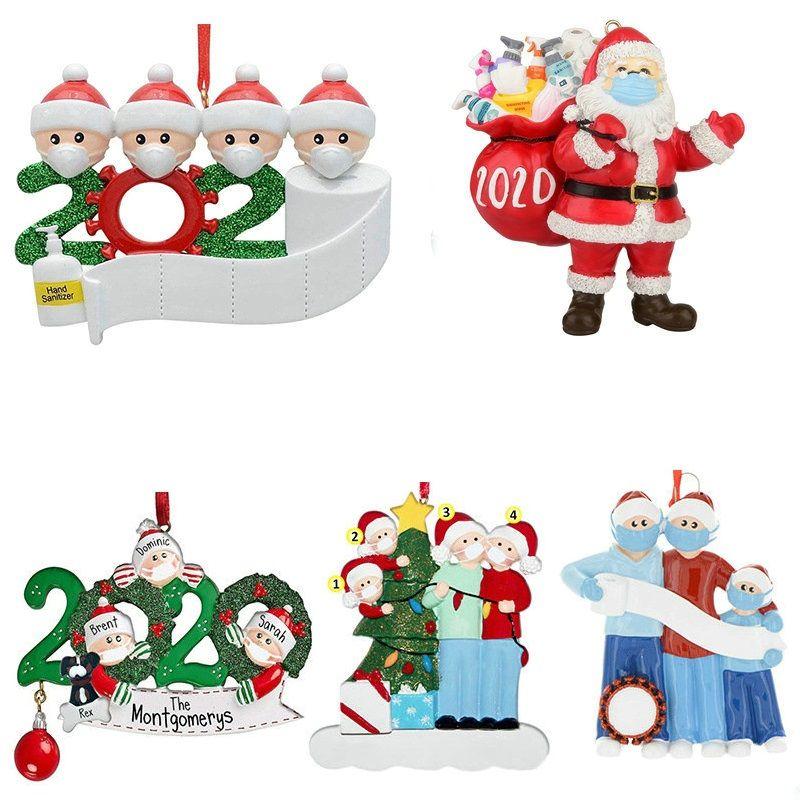 Résine 2020 quarantaine Christmas Ornament Pendentif Famille cadeau Anniversaires Partie Décoration cadeau Santa Claus Xmas Arbre Ornement