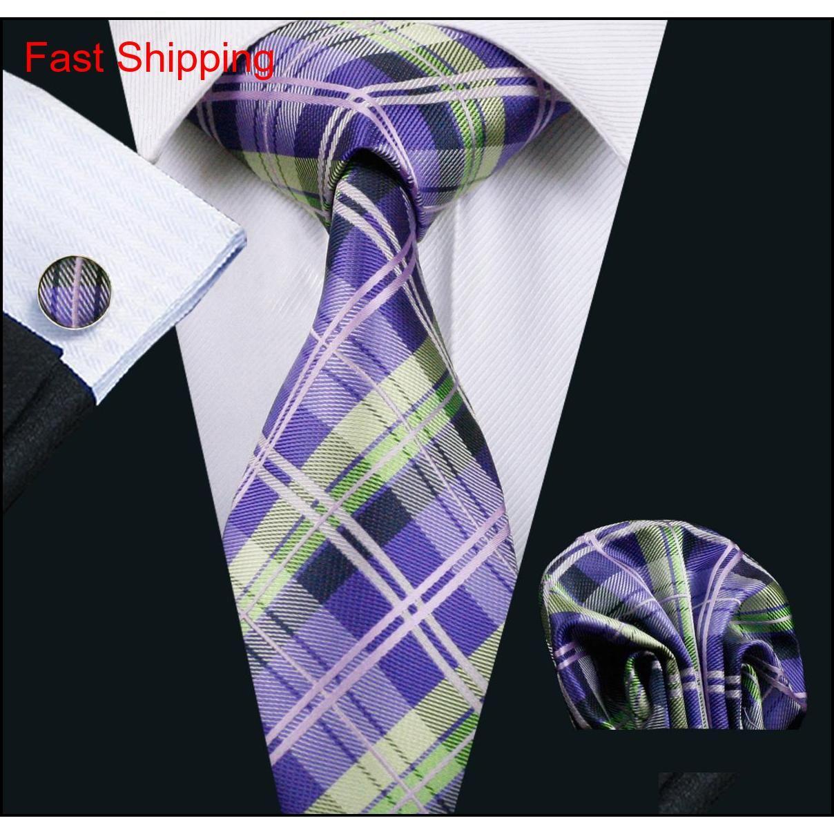 Lila Check Herren Krawatten Seide Hanky Manschettenknöpfe Krawatte Set Jacquard gewebt Business Formale Bussiness Casual Tie Mee Qylkmu Homes2007