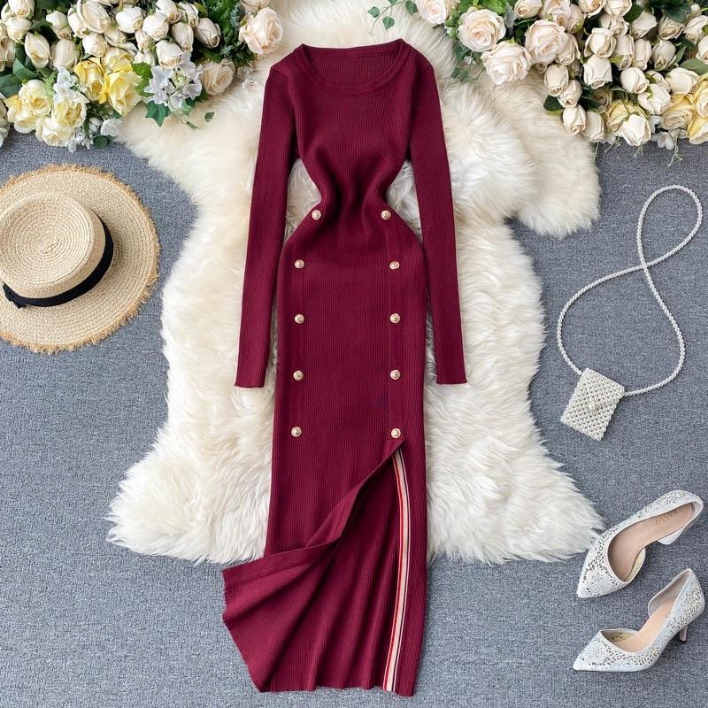 TEEUIEAR Bouton Vintage Slim Automne Bull Sweater Tricoté Midi Longue Robe Hiver Fête Élégante Femmes Sexy Split Tunic Robe T200911