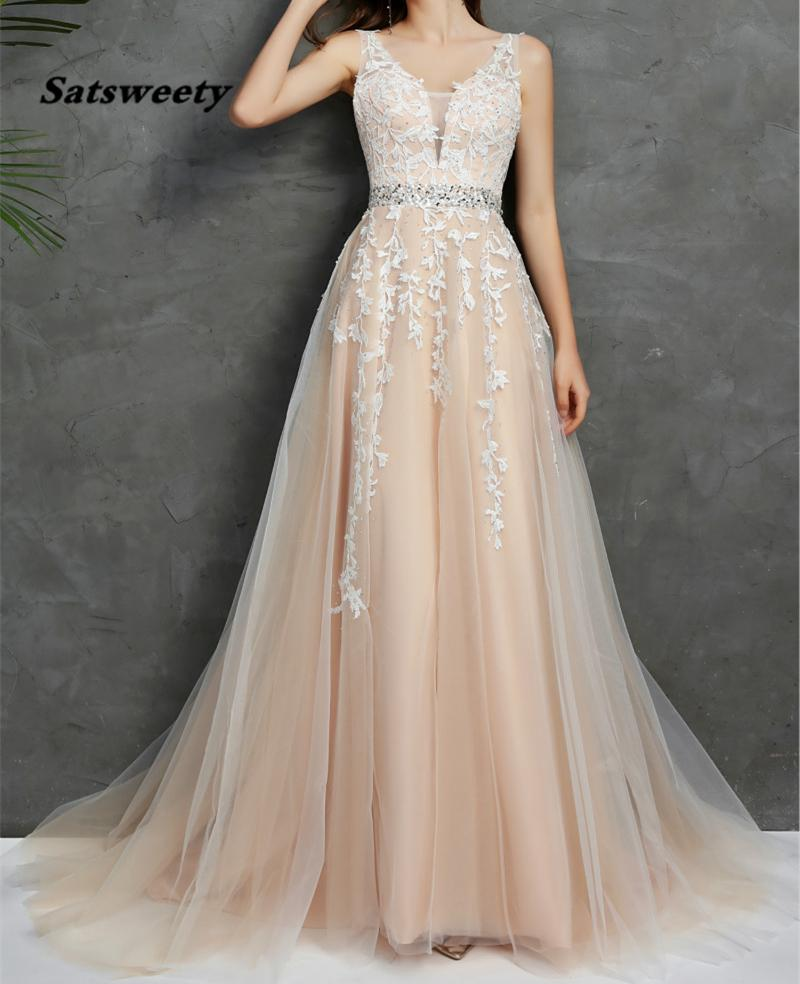 2021 Wedding Dresses V Neck Light Champagne Floor Length Applique Open Back A Line Backless Bridal Dress Vestido De Noiva Mariage