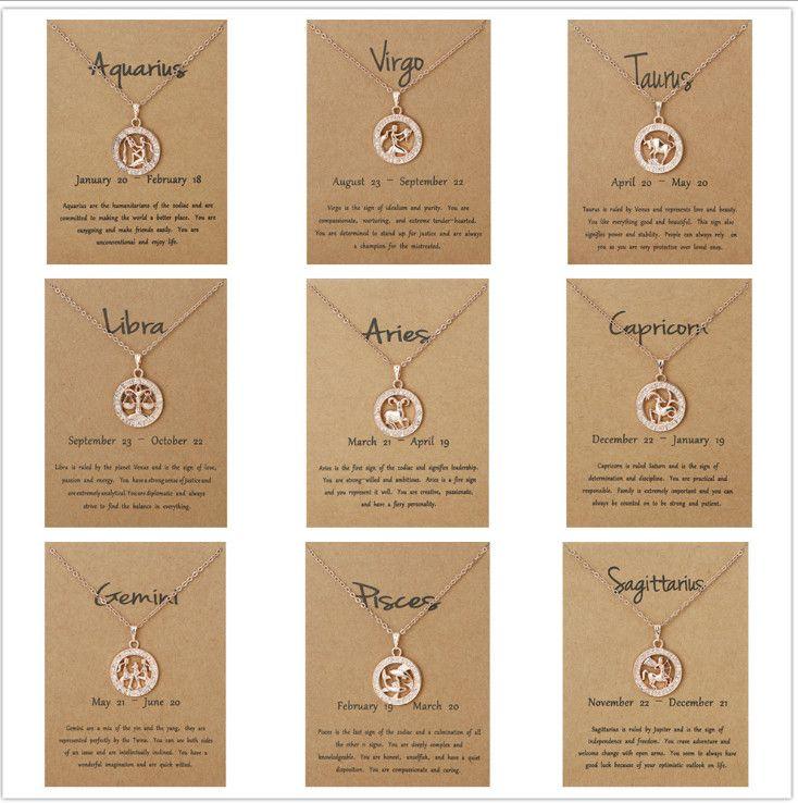 Nouvelle mode Zodiac 12 Constellation CZ Astrologie Zodiac Star Virgo Libra Scorpius Sagittaire Anniversaire Cadeaux Designer Colliers pour femmes