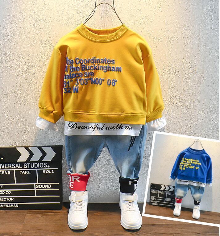 Spring Toyler Kids Baby Boy Baby Letting T-shirt Tops + Jeans Pants Pantalones Trajes Conjunto de ropa Traje para niños Alta calidad 2-6 años