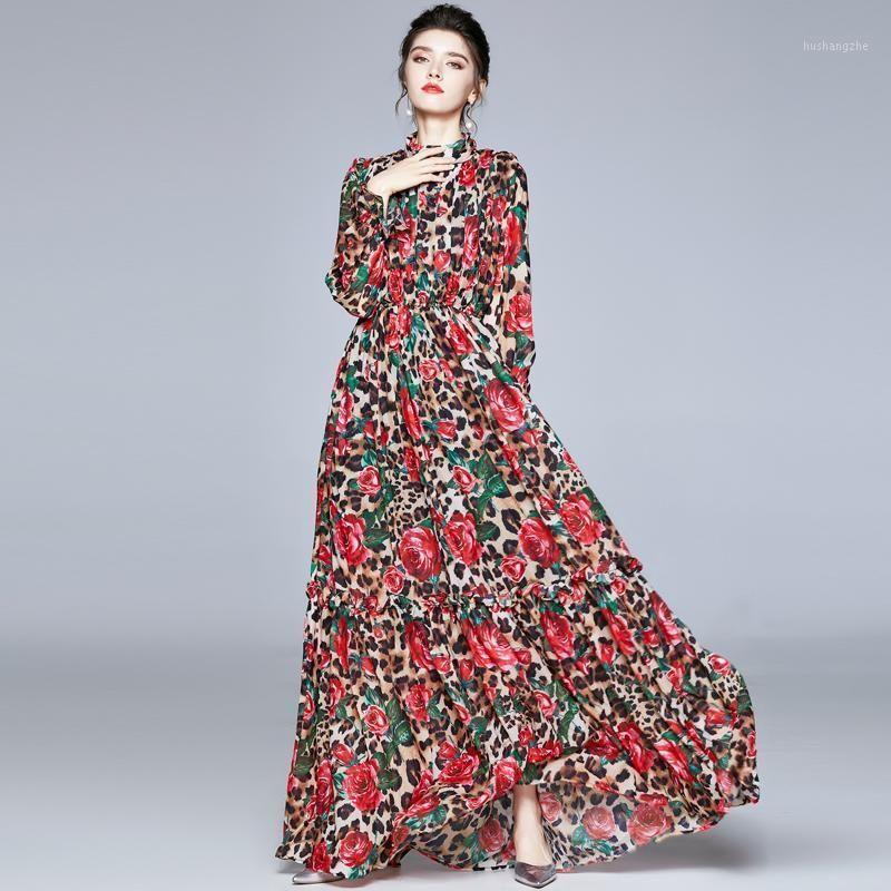 Merchall Runway Herbst Lange Flare Sleeve Maxi Kleider Frauen Vintage Rose Floral Leoparden Gedruckt Vestidos Robe Maxi Long Dress1
