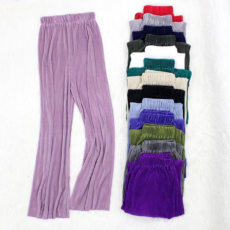 Pantalones para mujer de verano Pantalones de pierna ancha plisados Tobillo suelto Longitud Elástica Cintura Casual Long Streetwear Pantalones Pantalón Femme