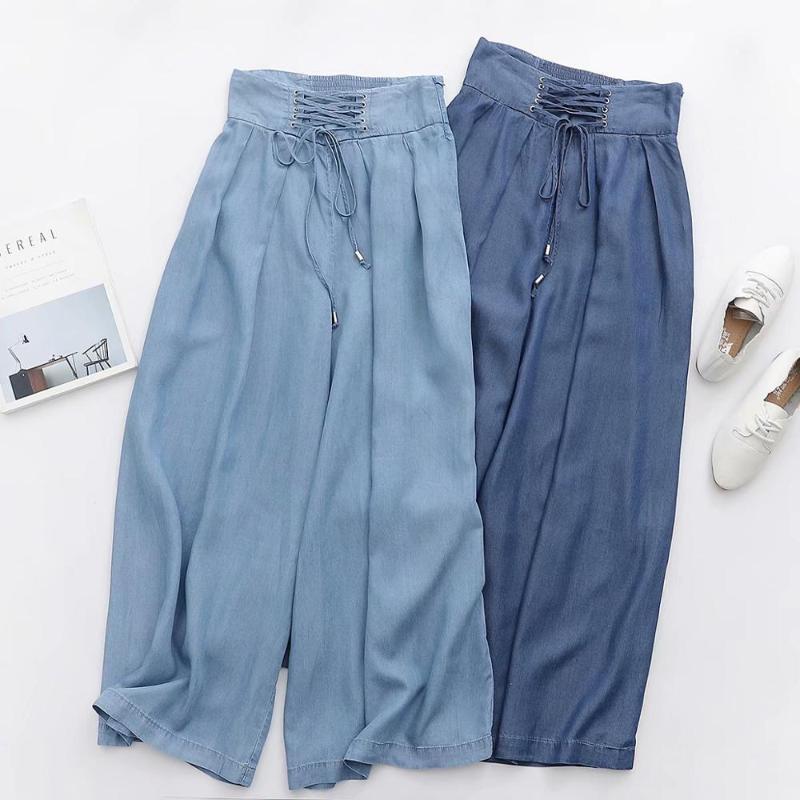 Solta cintura alta denim largo perna calças mulheres palazzo calças casuais cintura alta plus size jeans