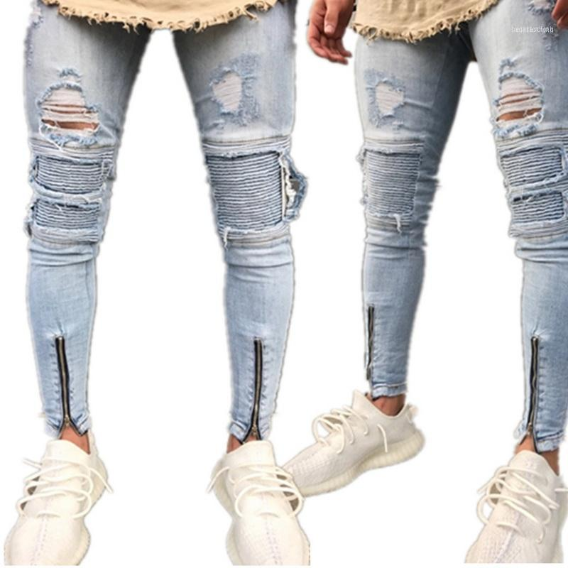 2021 Marka Tasarımcısı Slim Fit Yırtık Kot Erkekler Hi-Street Erkek Sıkıntılı Denim Joggers Diz Delik Yıkanmış Yıkanmış Jeans11