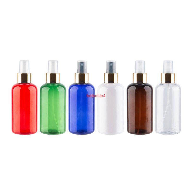 220 ml Renkli Doldurulabilir Plastik Parfüm Şişeleri 220cc Altın Sis Püskürtücü Pompa Kabı Kozmetik Boş Pet Şişe Için 12 adet / lotgood Qualtit