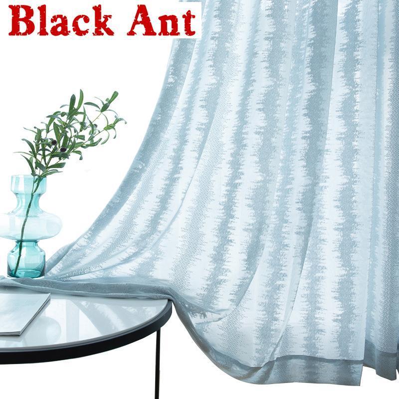 Janela de cortina oca moderna Jacquard para sala de estar azul laço cortina de tule para quarto cozinha voile blinds x677 # 40