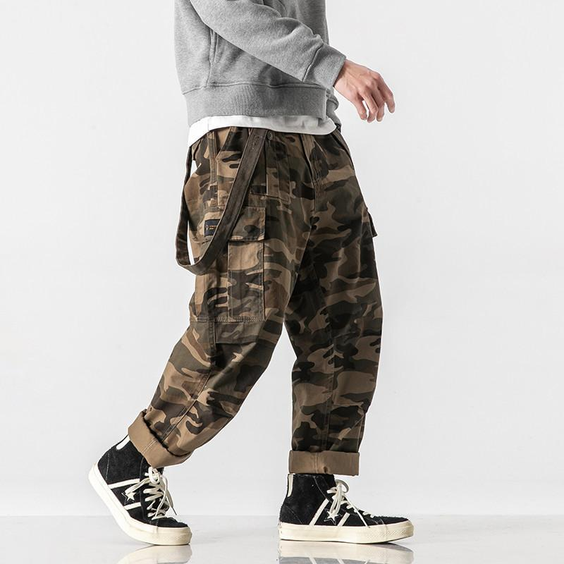 2021 spring men's camouflage pants American casual style tactical trend loose overalls