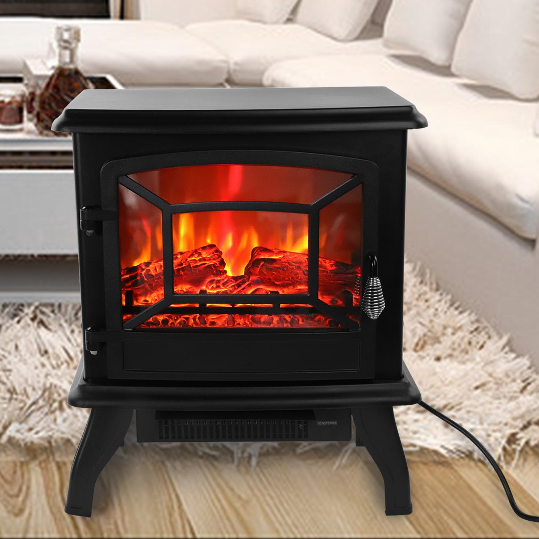 17-дюймовый 1400W FreeTanding камин портативный электрический камин нагреватель Log Flame печь черный домашний нагреватель