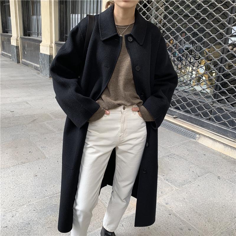 Kadın Yün Karışımları Kore Fransız Zarif Tek Göğüslü 2021 Kadın Mont Casual Çok Yönlü Gevşek Turn-down Yaka Bayanlar Uzun Coat