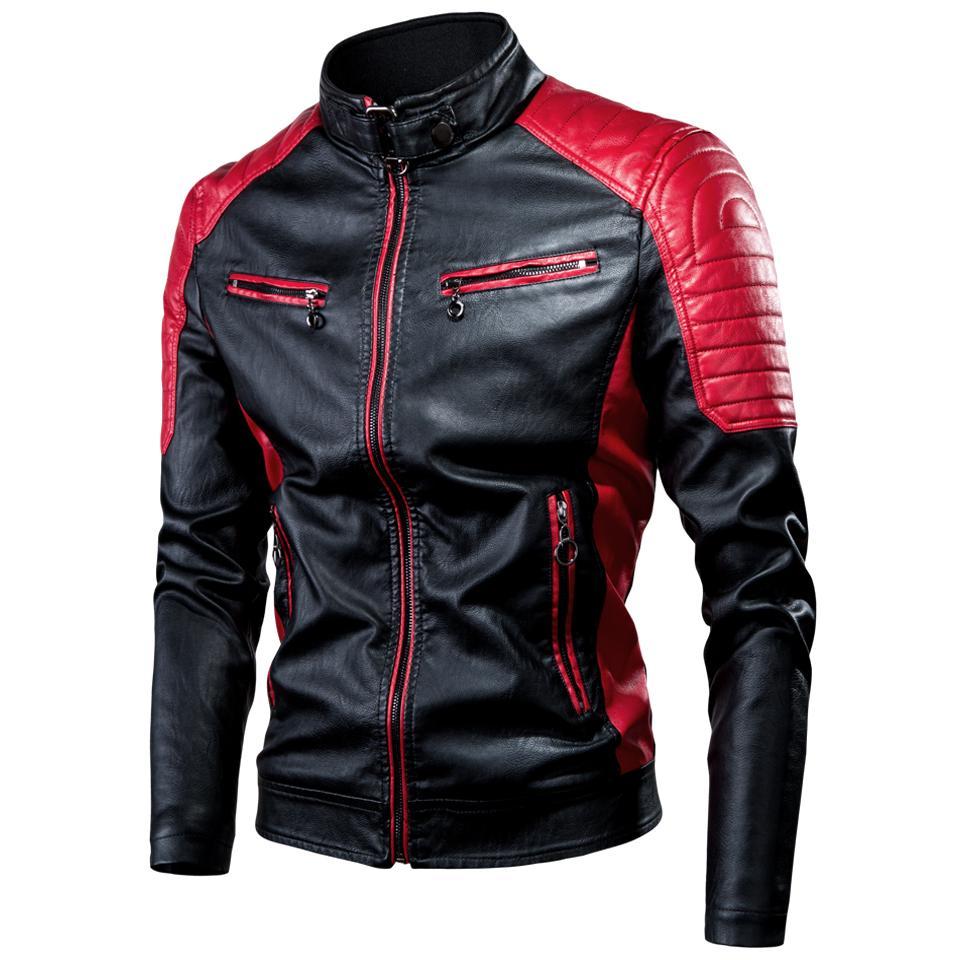 الرجال 2020 عارضة موتور مقسم سترة جلدية معطف الرجال الخريف أزياء السائق خمر دافئ سترة معطف